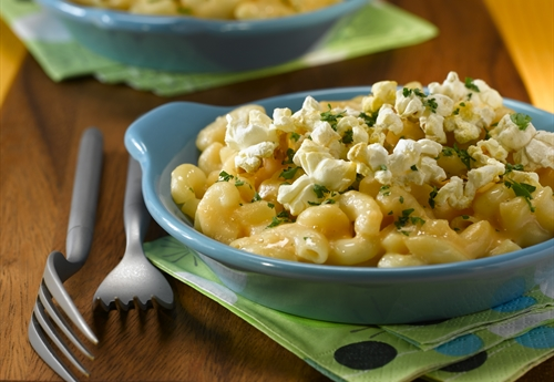 Popcorn Crusted Macaroni and Cheese