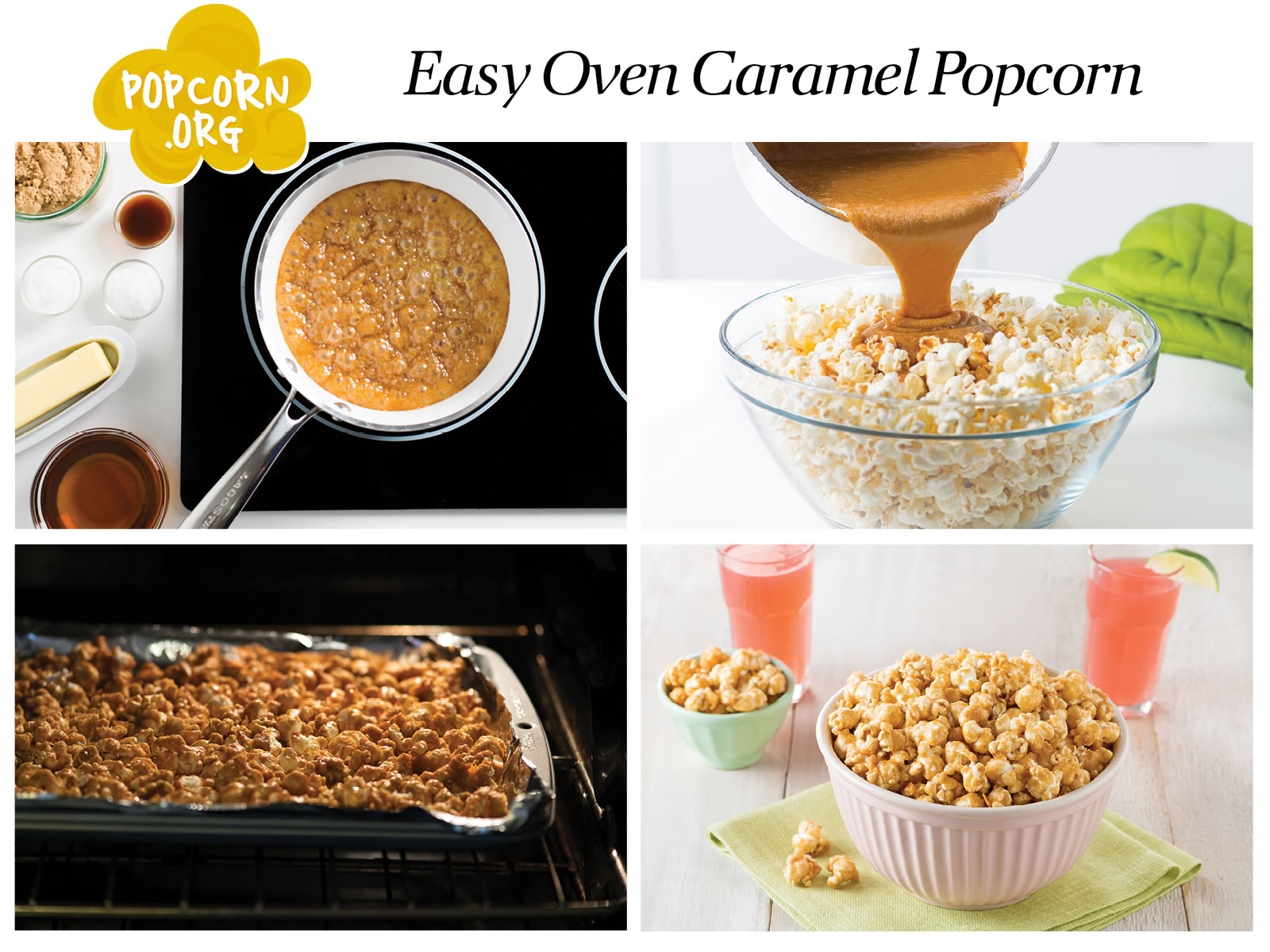 Easy Oven Caramel Corn Infographic